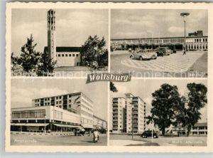 AK / Ansichtskarte Wolfsburg Evangelische Kirche Bahnhof Porschestrasse Hochhaus Altersheim Wolfsburg