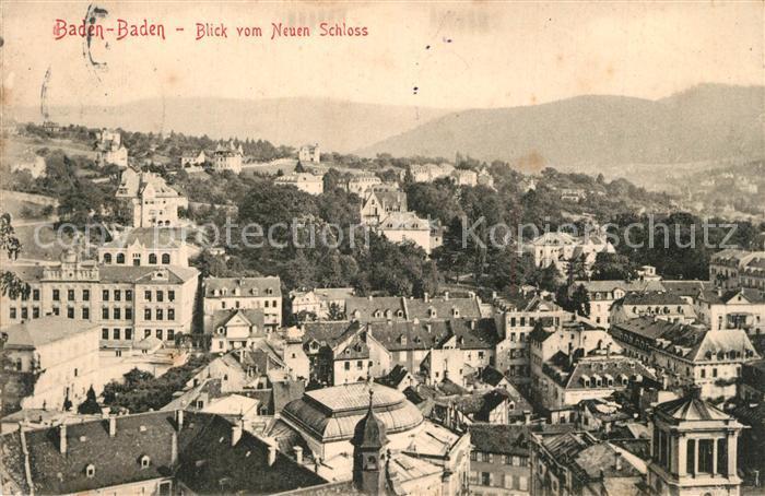 AK / Ansichtskarte Baden Baden Panorama Blick vom neuen Schloss Baden Baden