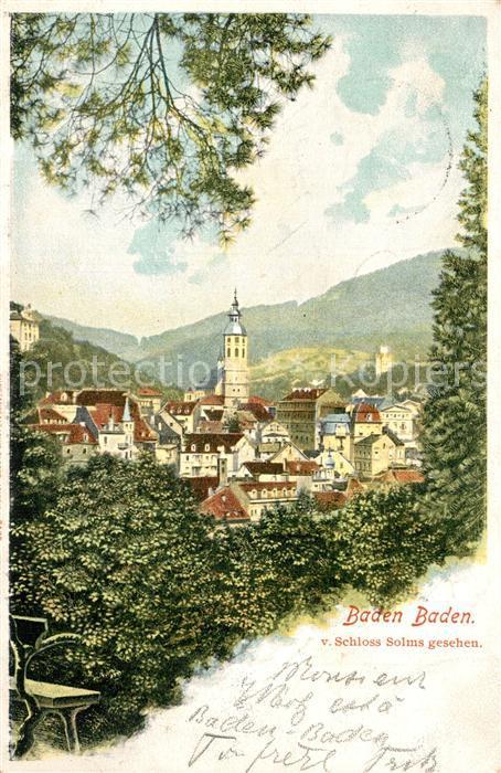 AK / Ansichtskarte Baden Baden Panorama Kirche Blick von Schloss Solms Baden Baden