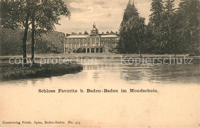 AK / Ansichtskarte Baden Baden Schloss Favorite Mondschein Baden Baden