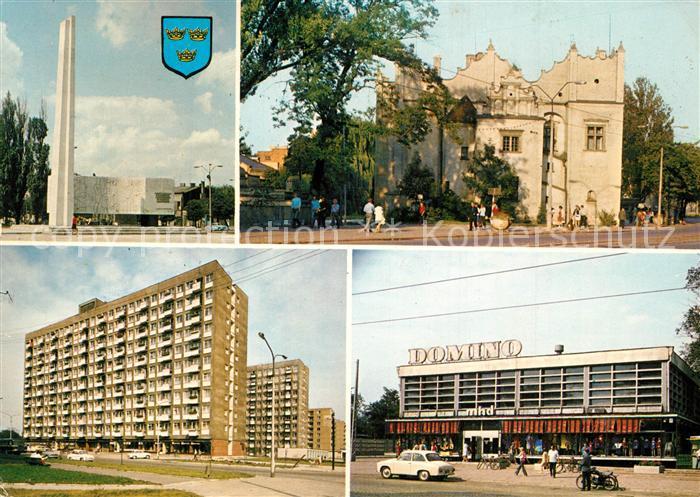 AK / Ansichtskarte Pabianice Pomnik Bojownikow Poznorenesansowy zamek Muzeum Regionalne Dom Handlowy Domino Pabianice