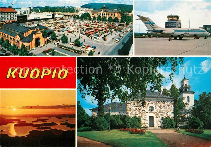 AK / Ansichtskarte Kuopio Marktplatz Flughafen Panorama Kuopio