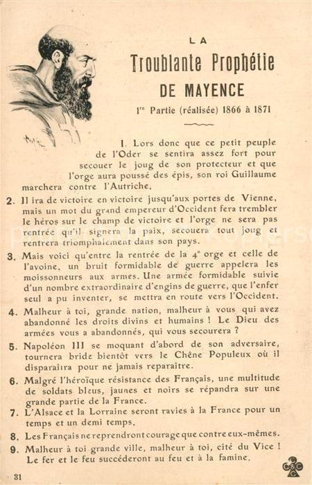 AK / Ansichtskarte Mayence La Troublante Prophetie Mayence