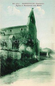 AK / Ansichtskarte Sonneville Eglise et Monument aux Morts Sonneville