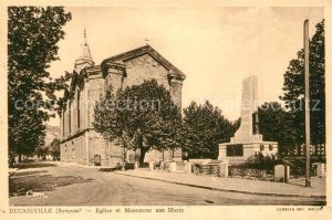 AK / Ansichtskarte Decazeville_Aveyron Eglise et Monument aux Morts Decazeville_Aveyron