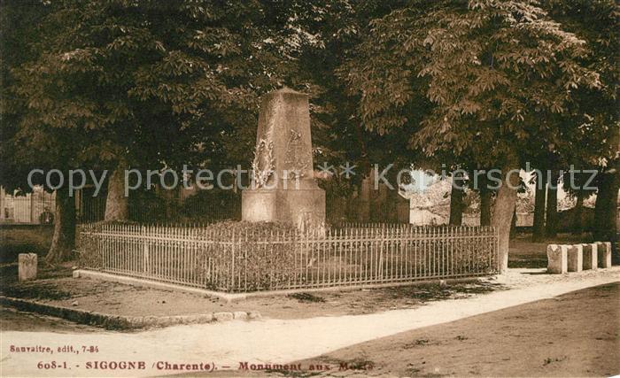 AK / Ansichtskarte Sigogne Monument aux Morts Kriegerdenkmal Sigogne