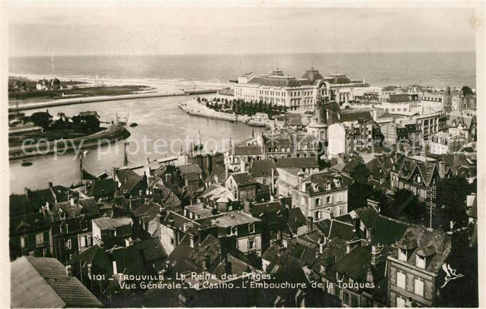AK / Ansichtskarte Trouville sur Mer Vue generale Casino Embouchure de la Touques Trouville sur Mer