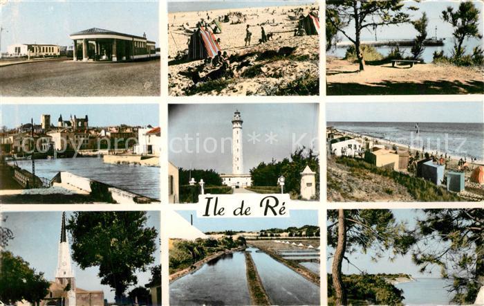 AK / Ansichtskarte Ile_de_Re Teilansichten der Insel Leuchtturm Kirche Strand Kueste Ile_de_Re