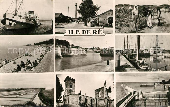 AK / Ansichtskarte Ile_de_Re Teilansichten der Insel Leuchtturm Kirche Hafen Fischkutter Segelboot Ile_de_Re 0