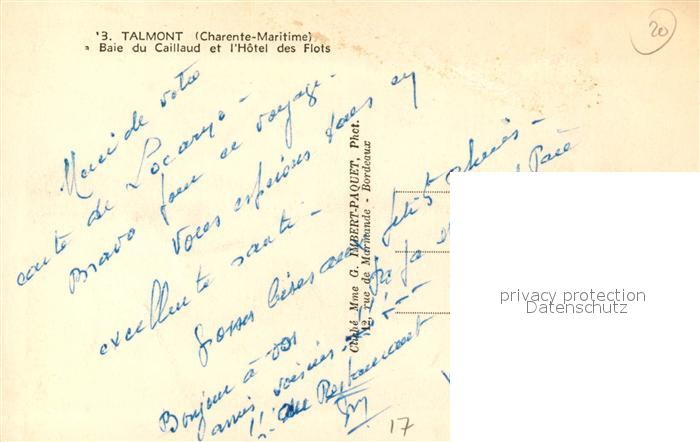 AK / Ansichtskarte Talmont sur Gironde Baie du Caillaud Hotel des Flots Talmont sur Gironde 1