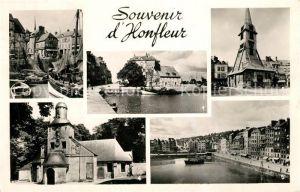 AK / Ansichtskarte Honfleur La Lieutenance Bateaux de peche Port Clocher Eglise Sainte Catherine Chapelle Notre Dame de Grace Bassin Quai Honfleur