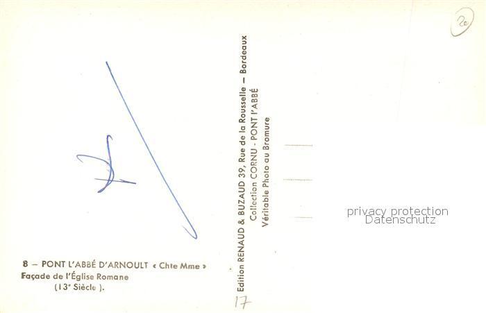 AK / Ansichtskarte Pont l_Abbe d_Arnoult Facade Eglise Romane Pont l_Abbe d_Arnoult 1