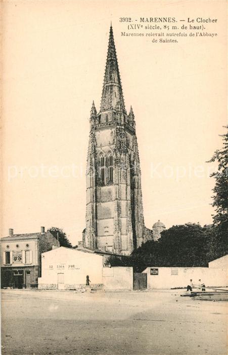 AK / Ansichtskarte Marennes_Charente Maritime Le Clocher XIVe siecle Marennes 0