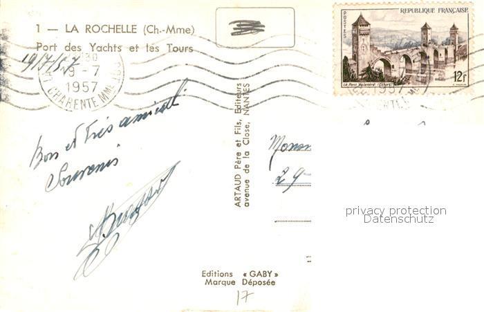 AK / Ansichtskarte La_Rochelle_Charente Maritime Port des Yachts et les Tours La_Rochelle 1