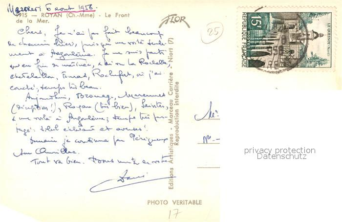 AK / Ansichtskarte Royan_Charente Maritime Front de la Mer Royan Charente Maritime 1