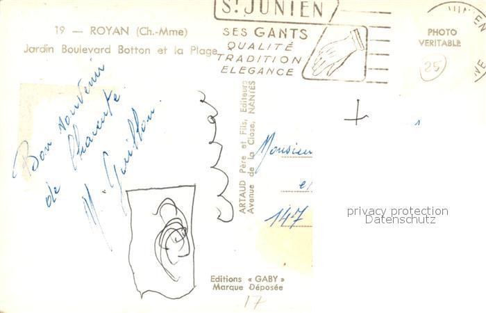 AK / Ansichtskarte Royan_Charente Maritime Jardin Boulevard Botton et la Plage Royan Charente Maritime 1