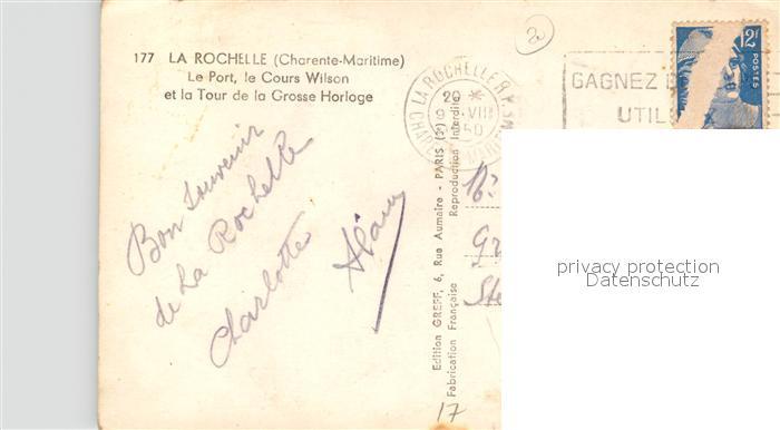 AK / Ansichtskarte La_Rochelle_Charente Maritime Le Port Cours Wilson Tour de la Grosse Horloge La_Rochelle 1