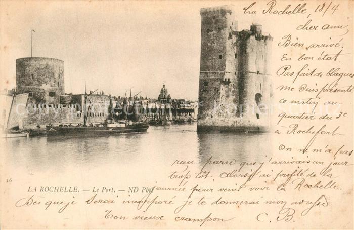 AK / Ansichtskarte La_Rochelle_Charente Maritime Port Tours Bateau La_Rochelle