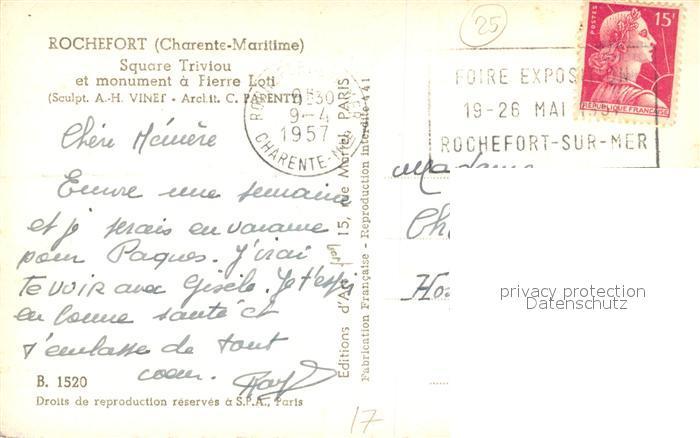 AK / Ansichtskarte Rochefort_Charente Maritime Square Triviou Monument a Pierre Loti Rochefort 1