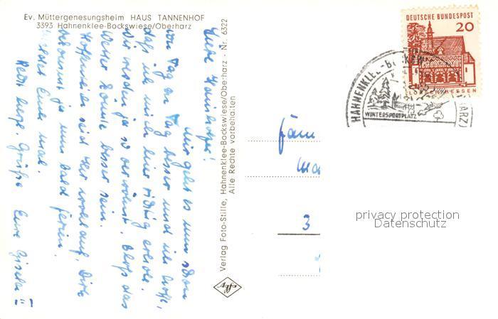 AK / Ansichtskarte Hahnenklee Bockswiese_Harz Haus Tannenhof Hahnenklee Bockswiese 1
