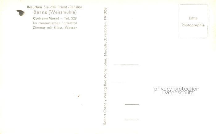 AK / Ansichtskarte Cochem_Mosel Privatpension Berns Weissmuehle Cochem Mosel 1
