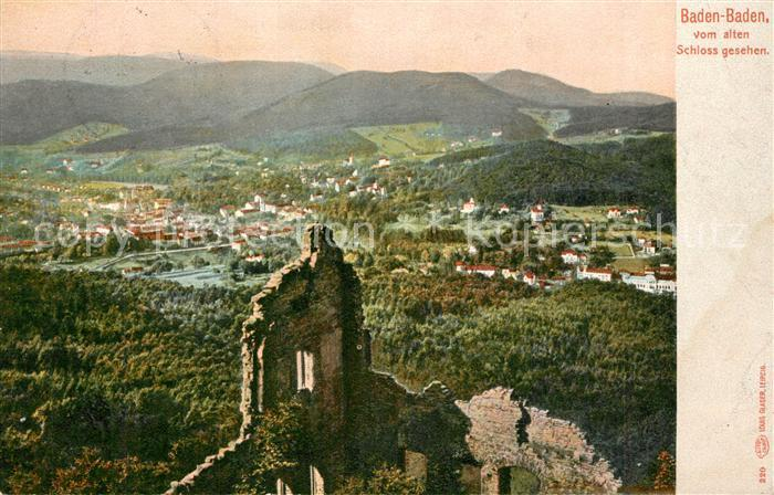 AK / Ansichtskarte Baden Baden Ruine altes Schloss Panorama Baden Baden 0