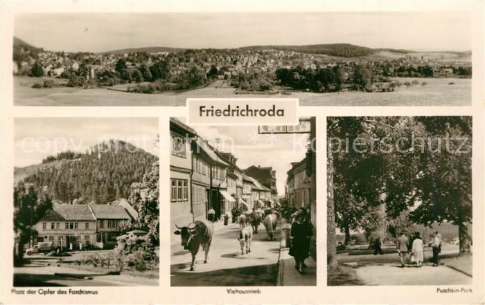 AK / Ansichtskarte Friedrichroda Panorama Puschkin Park Viehaustrieb Platz Opfer Faschismus Friedrichroda 0
