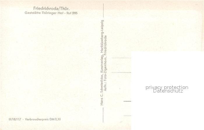 AK / Ansichtskarte Friedrichroda Gaststaette Thueringer Hof Friedrichroda 1