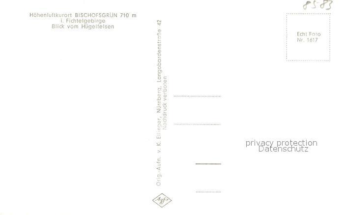 AK / Ansichtskarte Bischofsgruen Blick vom Huegelfelsen Bischofsgruen 1
