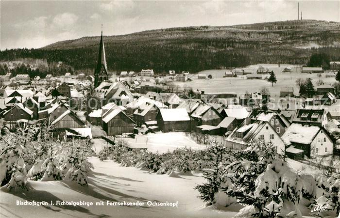 AK / Ansichtskarte Bischofsgruen Fernsehsender Ochsenkopf Winter Bischofsgruen