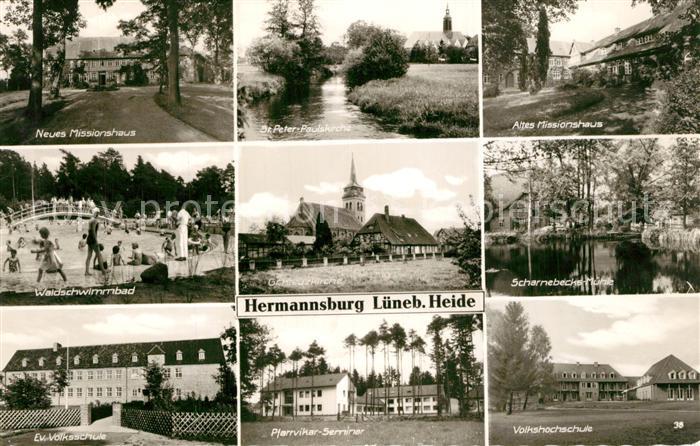 AK / Ansichtskarte Hermannsburg Neues Missionshaus Altes Missionshaus Waldschwimmbad Hermannsburg 0