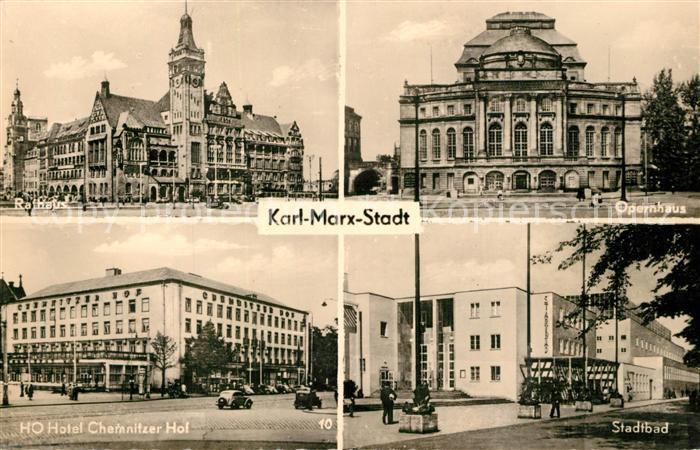 AK / Ansichtskarte Karl Marx Stadt Rathaus Opernhaus HO Hotel Chemnitzer Hof Stadtbad Karl Marx Stadt