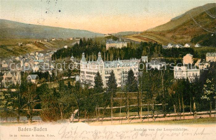 AK / Ansichtskarte Baden Baden Blick von Leopoldshoehe Schloss Baden Baden 0