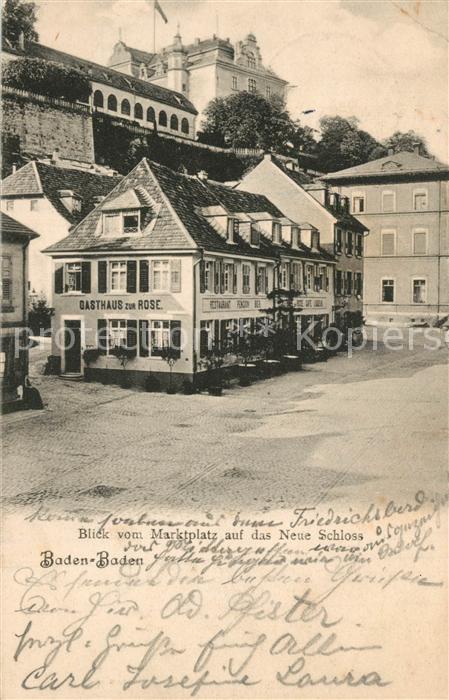 AK / Ansichtskarte Baden Baden Marktplatz neues Schloss Baden Baden