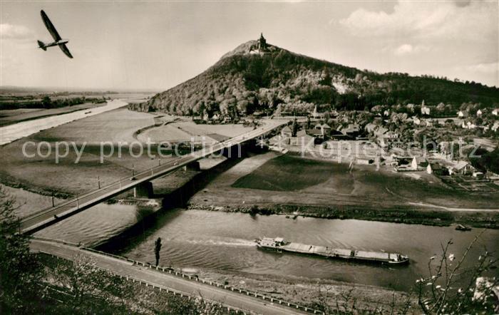 AK / Ansichtskarte Porta_Westfalica Blick vom Jakobsberg mit Weser Wittekindsberg und Kaiser Wilhelm Denkmal Porta_Westfalica