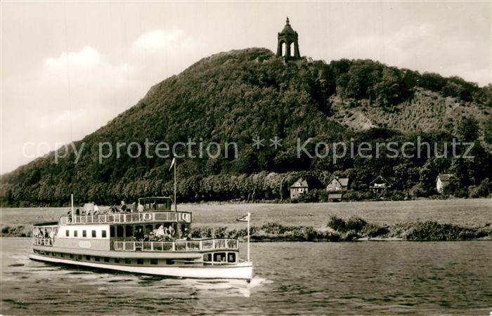 AK / Ansichtskarte Porta_Westfalica Weserpartie Fahrgastschiff Kaiser Wilhelm Denkmal Porta_Westfalica