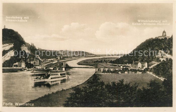 AK / Ansichtskarte Porta_Westfalica Wittekindsberg mit Kaiser Wilhelm Denkmal Jakobsberg und Bismarksaeule Porta_Westfalica 0