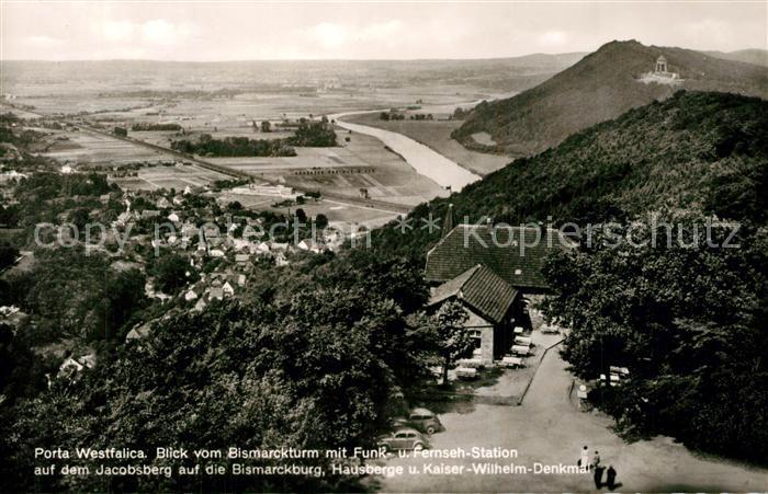 AK / Ansichtskarte Porta_Westfalica Blick vom Bismarckturm auf Jacobsberg Bismarckburg und Kaiser Wilhelm Denkmal Porta_Westfalica 0
