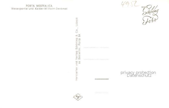 AK / Ansichtskarte Porta_Westfalica Weserpartie mit Kaiser Wilhelm Denkmal Porta_Westfalica 1