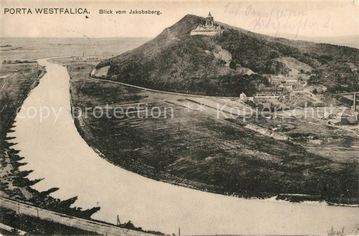 AK / Ansichtskarte Porta_Westfalica Blick vom Jacobsberg mit Kaiser Wilhelm Denkmal Porta_Westfalica