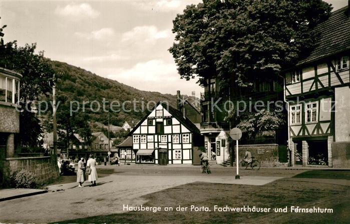 AK / Ansichtskarte Porta_Westfalica Hausberge Fachwerkhaeuser Fernsehturm Porta_Westfalica 0