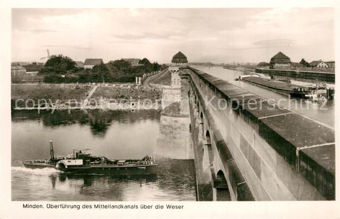 AK / Ansichtskarte Minden_Westfalen ueberfuehrung des Mittellandkanals ueber die Weser Minden_Westfalen 0