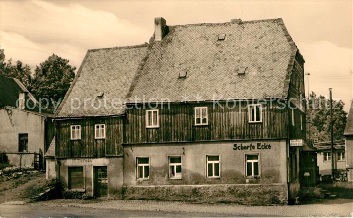 AK / Ansichtskarte Gruenhain_Erzgebirge HO Gaststaette Scharfe Ecke Gruenhain Erzgebirge 0