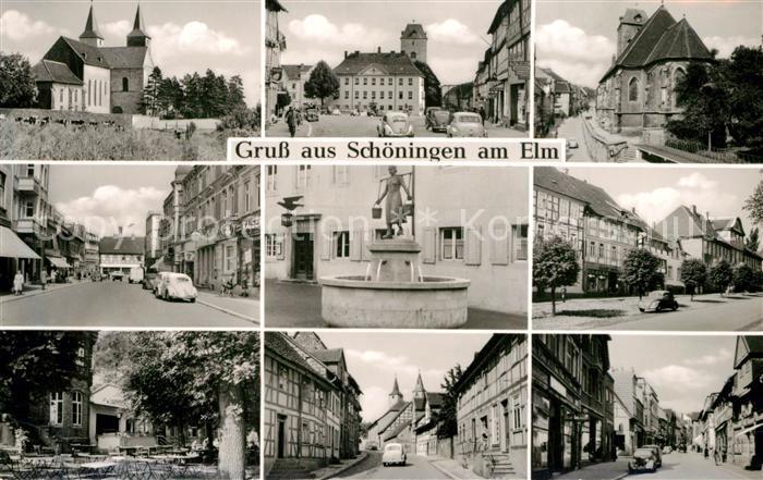 AK / Ansichtskarte Schoeningen Kirche Rathaus Brunnen Teilansichten Schoeningen 0
