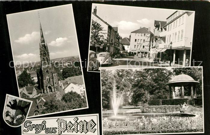 AK / Ansichtskarte Peine Kirche Strassenpartie Park Fontaine Peine 0