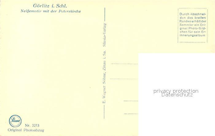 AK / Ansichtskarte Goerlitz_Niederschlesien Neissemotiv mit Peterskirche Goerlitz_Niederschlesien 1
