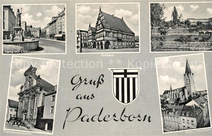 AK / Ansichtskarte Paderborn Kamp Liboriusbrunnen Rathaus Paderanlagen Dom Franziskanerkirche Wappen Paderborn