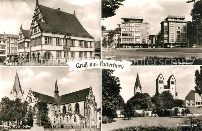 AK / Ansichtskarte Paderborn Rathaus Westerntor Dom Paderanlagen Paderborn