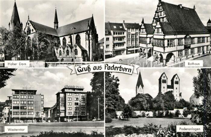 AK / Ansichtskarte Paderborn Dom Rathaus Westerntor Paderanlagen Paderborn 0