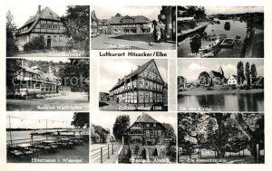 AK / Ansichtskarte Hitzacker_Elbe Jugendherberge Am Markt Jeetzelpartie Kurhotel Waldfrieden Zollhaus Elbterrassen Altstadt Riesenkastanie Hitzacker Elbe